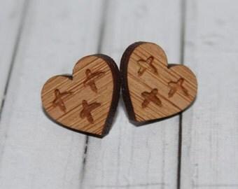 Cross Your Heart Laser Cut Bamboo Wood Stud Earrings