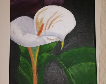 Single Lily on canvas