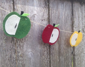 NEW! 5' Long Felt Apple Garland for Fall with Red, Green, and Yellow Apples