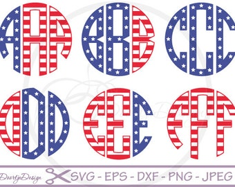 Circle monogram fonts SVG for Cricut, SVG 4th of July, EPS Vector files, Vinyl Cut files, stars and stripes svg Alphabet font for cut files