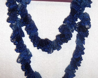 Sequined Midnight Blue Infinity Ruffle Scarf