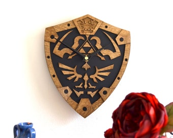 Legend of Zelda inspired wall clock Hylian shield