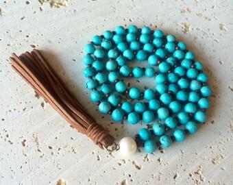 Turquoise tassel necklace,pearl tassel necklace,stone necklace with leather tassel,raw turquoise tassel necklace,Mala jasper tassel necklace
