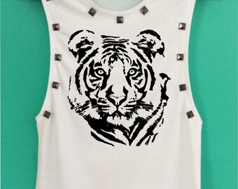 THE TIGER FACE style Tank Top have a metal decoration and screen design handmade size S - M