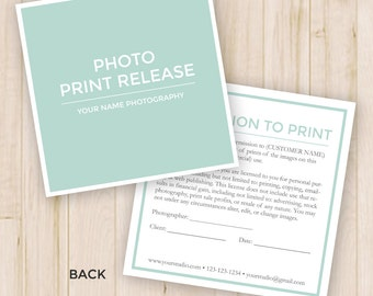 Photo Print Release Form Template - Photography Forms, Photoshop PSD *Instant Download*