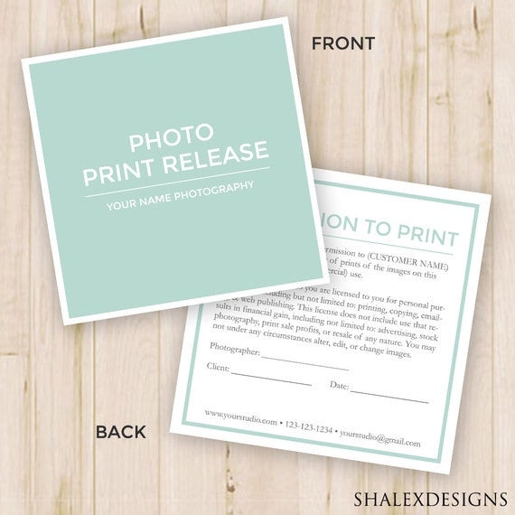 Photo Print Release Form Template Photography Forms