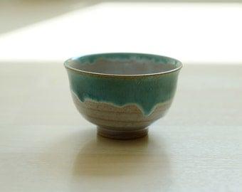sand and green Japanese stoneware, Tenmoku glazing