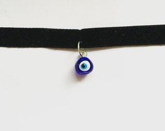 Handmade evil eye choker