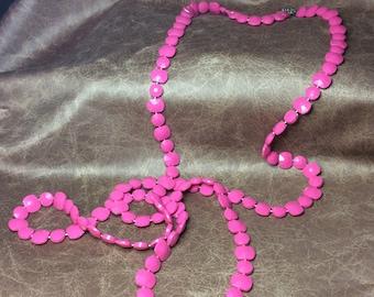 60's Vintage Pink Long Necklace