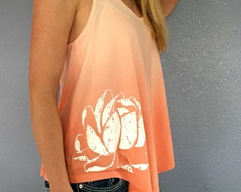 Ombre Coral White Lotus Racerback Tank
