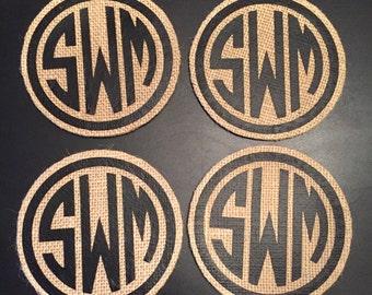 Monogrammed Burlap Coasters