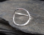 Full moon sterling silver ring (0.925), made at your size. Hammered. Karma ring. Open Circle ring. Thin, stacking ring.