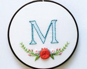 """Custom Monogram/Floral 6"""" Embroidery Hoop Art/Wall Art/Nursery Art/Nursery Decor/Baby Monogram/Baby Gift"""
