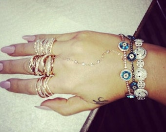 Gold Multi-layer Ring with Crystals as seen on Khloe Kardashian