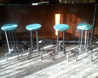 Steampunk Black Pipe Weathered Distressed Bar Stool