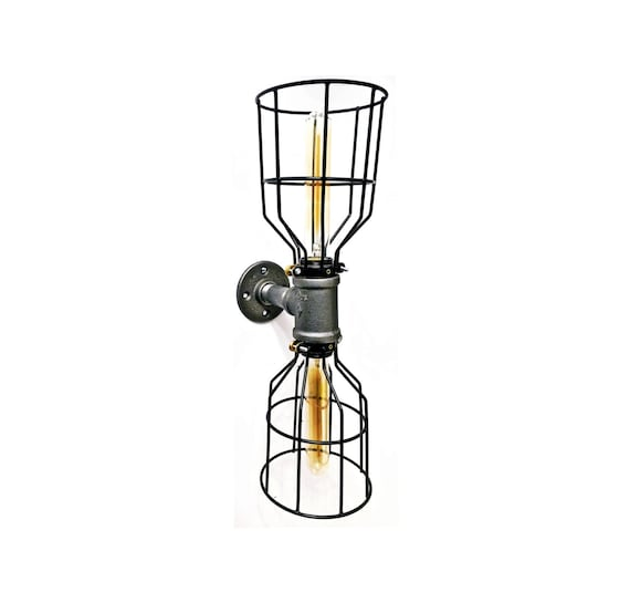 edison wall sconce light lamp vertical double lamp