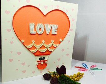 Love Card, Valentine's Day, Love Quilling Card, Hearts Quilling Card, Hearts Card, Birthday Card, Love Birthday Card