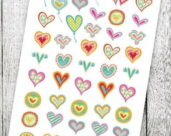 Wacky Heart Planner Stickers