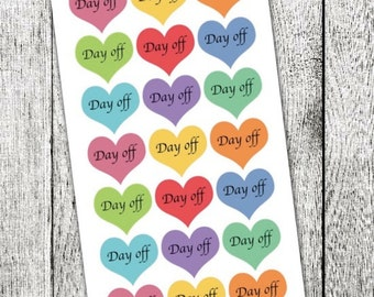 Day Off Heart Planner Stickers