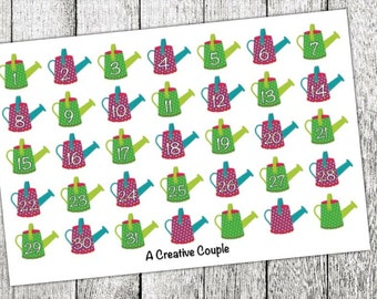 Watering Can Number Planner Stickers