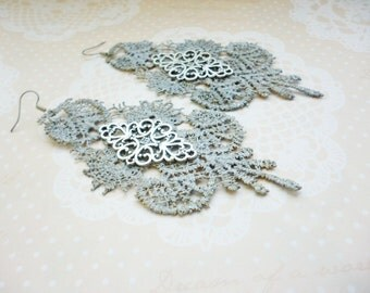 Large Gray Silver Filigree Lace Dangle Earrings Wedding Earrings Long Earrings Air Silver Statement Earrings Everyday jewelry Gift for her