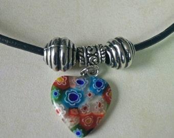 Vakentine's Day Millefiori Glass Heart Pendant Leather Necklace