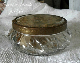 Charming, ancient glass jar with lid