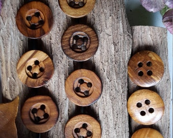 Vintage Wooden Button 28 mm x 10