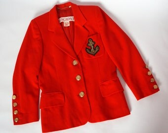 Escada by Margaretha Ley vintage red wool jacket sailor style gold buttons size M angora wool silk