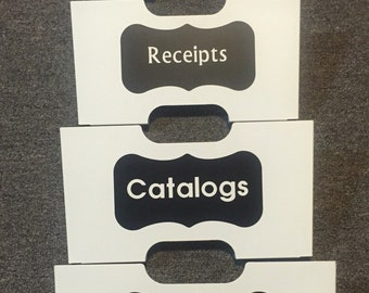 Labels for Organizer Decals- Organize, Catalogs, Bills, Junk Mail, Receipts