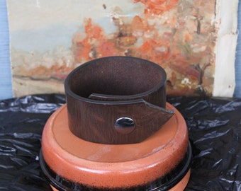 Mens Upcycled Brown Leather Belt Cuff 9.5""