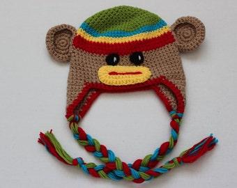 Crochet Baby Hats, Crochet Monkey hat, baby photo prop