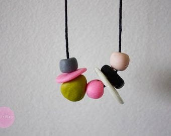 Pink and Green Polymer Clay Necklace