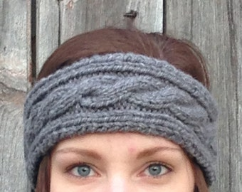 Cable Knit Earband - Cable Knit Headband - Stocking Stuffer - Knit Accessories - Christmas Gift for Her - Winter Accessories -Cabled Earband