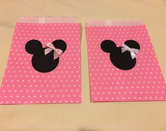 Minnie Mouse Party Favor Bags, Goodie Bags, Candy Bags (Set of 12)