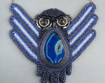 "bead embroidery necklace pendant ""Owl"""
