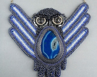 "SALE! bead embroidery necklace pendant ""Owl"""