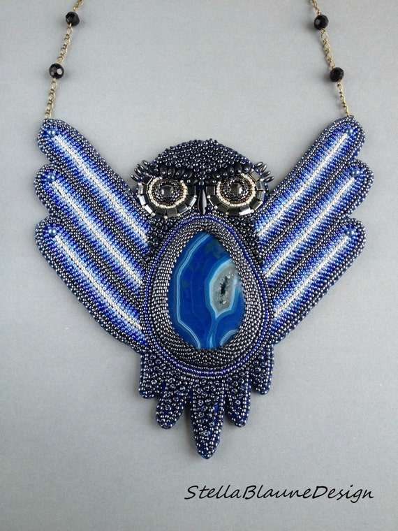 Bead embroidery necklace pendant owl by stellablaunedesign