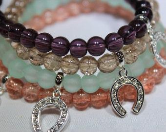 HORSE SHOE charm bracelet - stretch charm bracelet - lucky charm bracelet
