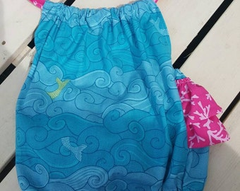 Mermaid tail pillowcase romper