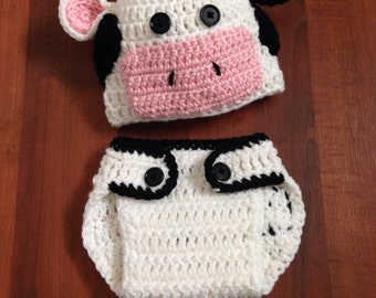 Cow Hat and Diaper Cover, Cow Costume, Newborn, 0-3month, newborn pictures
