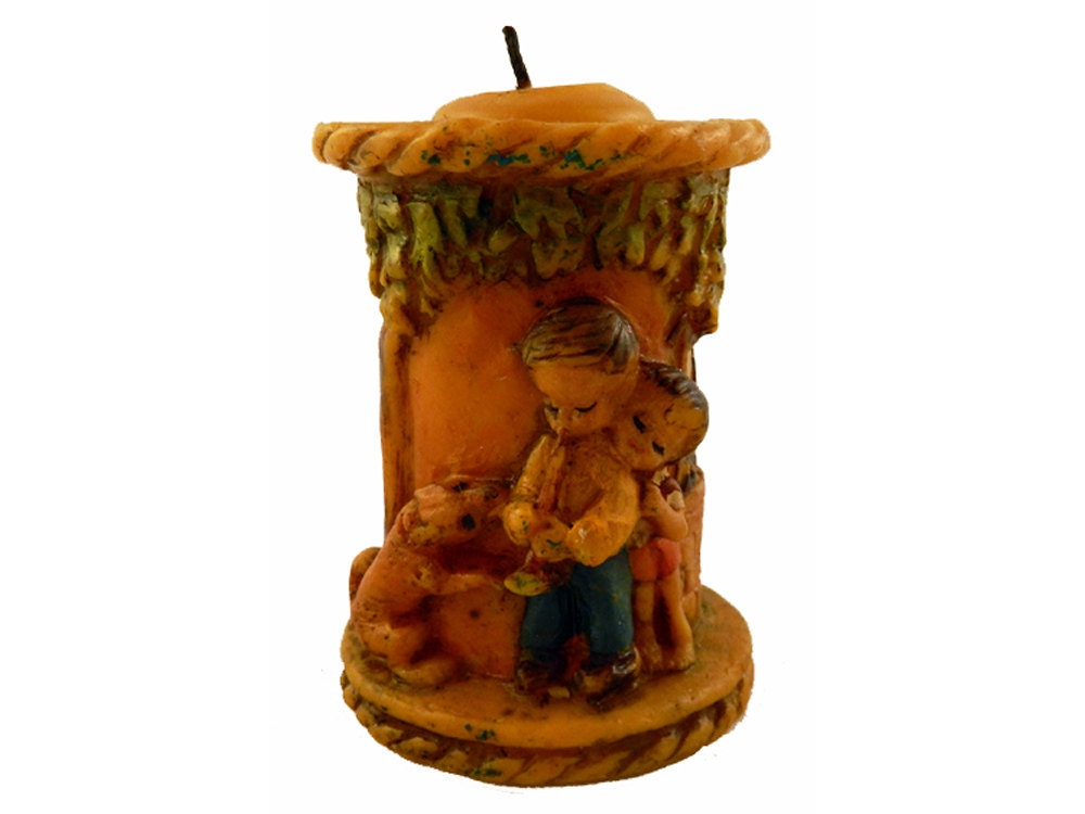 Vintage Hand Carved Painted German Decorative Candle By