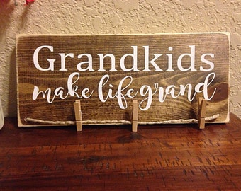 Grandkids make life grand | grandchildren sign | gifts for grandparents