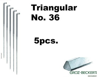 Triangular felting needles, Gauge 36. Price for 5pcs. Made in Germany.
