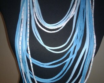 Scarf necklace, aqua blue and white