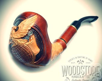 """Handmade tobacco pipe - """"Eagle"""" wooden smoking pipe, wood pipe"""
