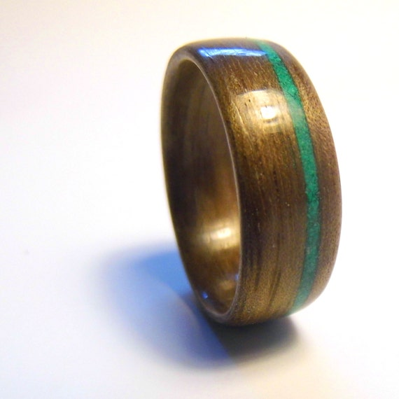 walnut bentwood ring with offset malachite by