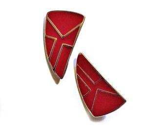 Red vintage geometric enamel earrings