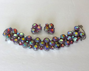 Vintage Rhinestone Bracelet and Earrings Set