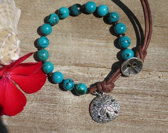 Hand knotted Turquoise bracelet, Distressed leather, Sand dollar charm, Ocean style, Boho chic, Handmade by PassionKnots.